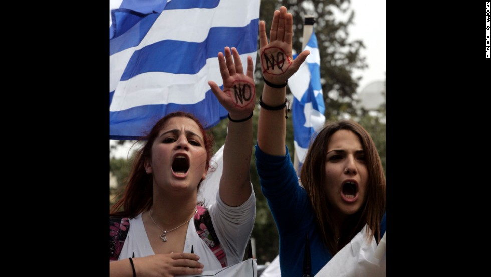 Students protest against austerity measures in front of the Cypriot Presidential House on March 26, in Nicosia, Cyprus.