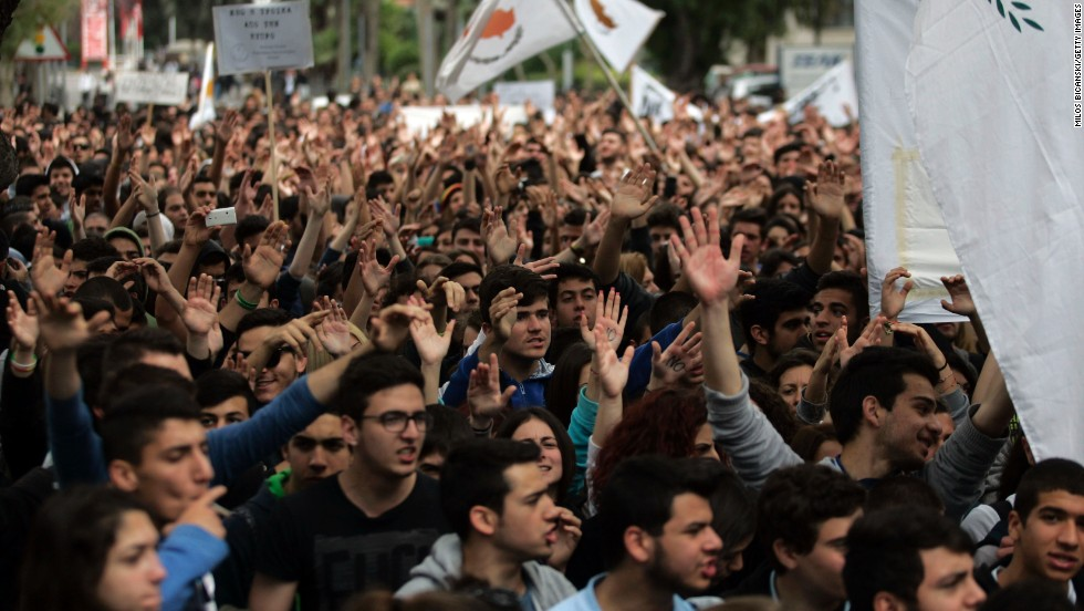 Students protest against austerity measures in front of the Cypriot Presidential House on March 26 in Nicosia, Cyprus.