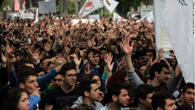 Students protest against austerity in Cyprus in March. The intellectual argument for austerity is under attack.