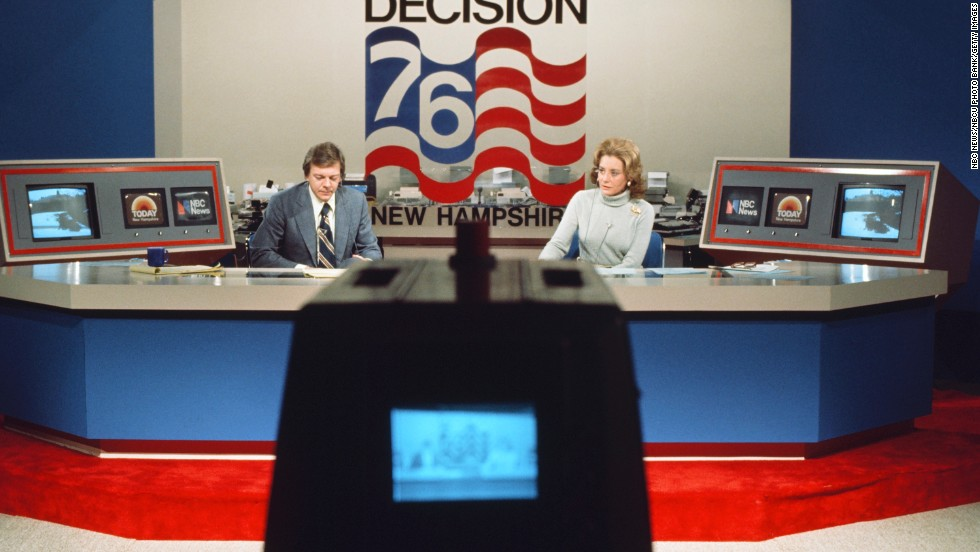 Jim Hartz and Walters reported for NBC News during the 1976 New Hampshire Democratic Primary.