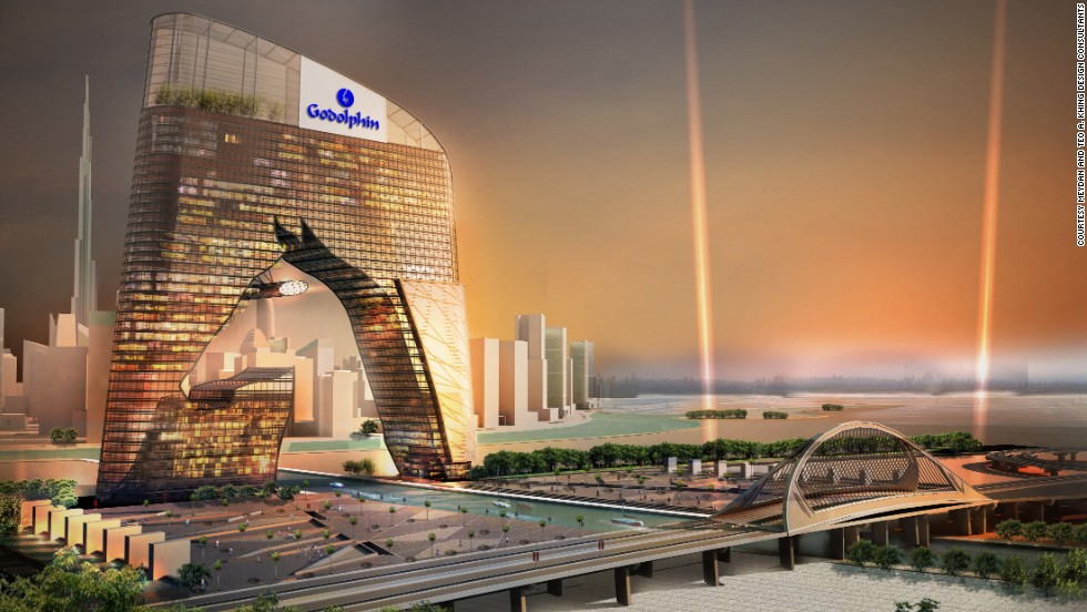Sheik Mohammed's vision of a thriving Meydan metropolis doesn't stop at the race track. Plans are underway for a nearby retail center, featuring a 40-storey horse-shaped tower.