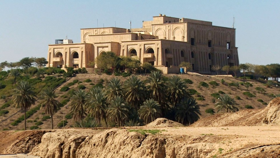 After the Gulf War, Saddam Hussein began building the modern palace for himself on top of ruins in the style of a Sumerian ziggurat.