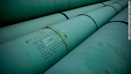 CUSHING, OK - MARCH 22: Pipe is stacked at the southern site of the Keystone XL pipeline on March 22, 2012 in Cushing, Oklahoma. U.S. President Barack Obama is pressing federal agencies to expedite the section of the Keystone XL pipeline between Oklahoma and the Gulf Coast. (Photo by Tom Pennington/Getty Images)