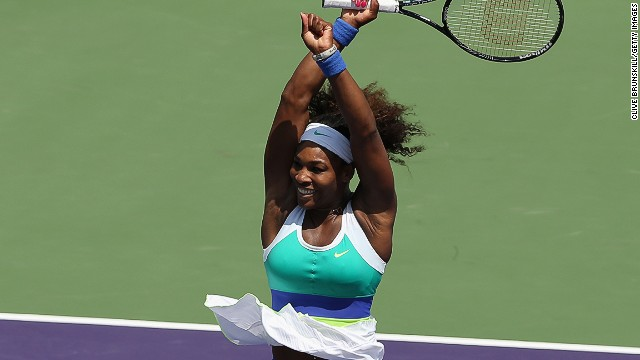 Serena Williams celebrates after beating Maria Sharapova in the Miami Masters final.