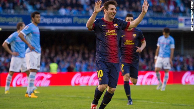 Lionel Messi celebrates another goal and another landmark against Celta Vigo on Saturday.