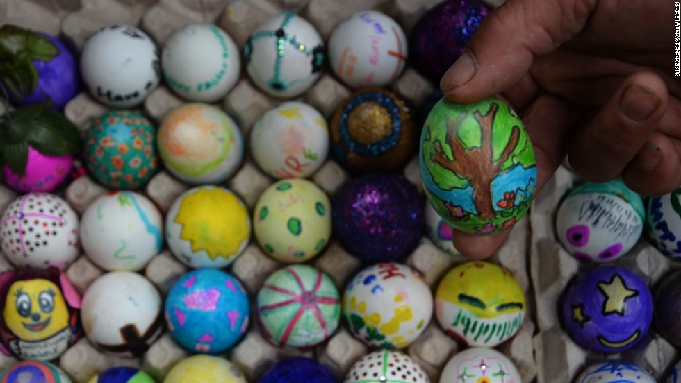 Decorative painted Easter eggs are displayed at a church in Dimapur, India, on March 31. Christians celebrate the resurrection of Jesus Christ with vigils, performances and gifts such as Easter eggs.