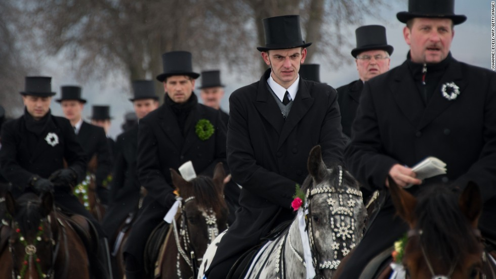 Slavic Sorb men ride on horses during a traditional Easter procession in Germany on March 31. Easter is a particularly important time of the year for Sorbs, a Slavic minority in eastern Germany.