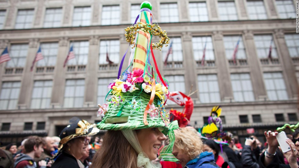 Revelers participate in the annual Easter Day procession in New York City on March 31.