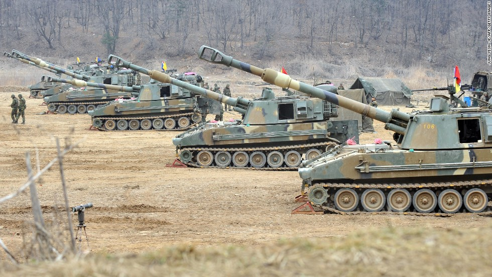 South Korean marines man K-55 self-propelled Howitzers at a military training field in the border city of Paju on Monday, April 1. Park Geun-hye, South Korea's new president, promised a strong military response to any North Korean provocation after North Korea announced that the two countries were in a state of war.
