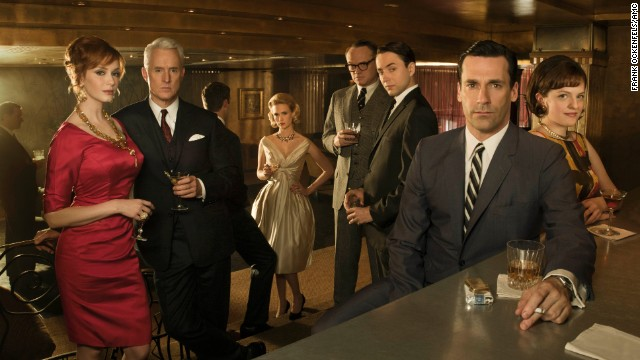 (L-R) Joan Harris (Christina Hendricks), Roger Sterling (John Slattery), Betty Draper (January Jones), Lane Pryce (Jared Harris), Pete Campbell (Vincent Kartheiser), Don Draper (Jon Hamm) and Peggy Olson (Elisabeth Moss)