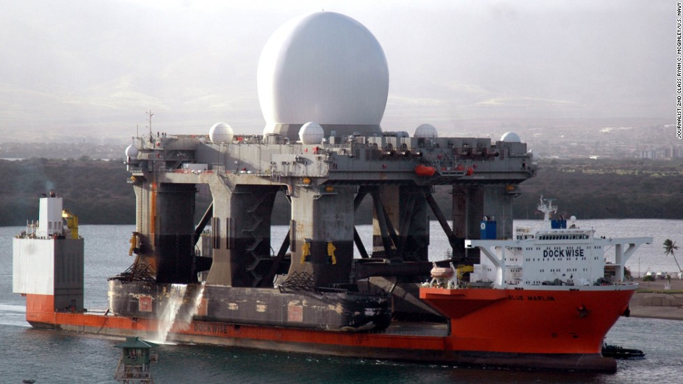 The U.S. Navy is moving a sea-based radar platform, like the one seen in this 2006 file photo, closer to the North Korean coast to monitor that country's military moves, including possible new missile launches, a Defense Department official said Monday, April 1.