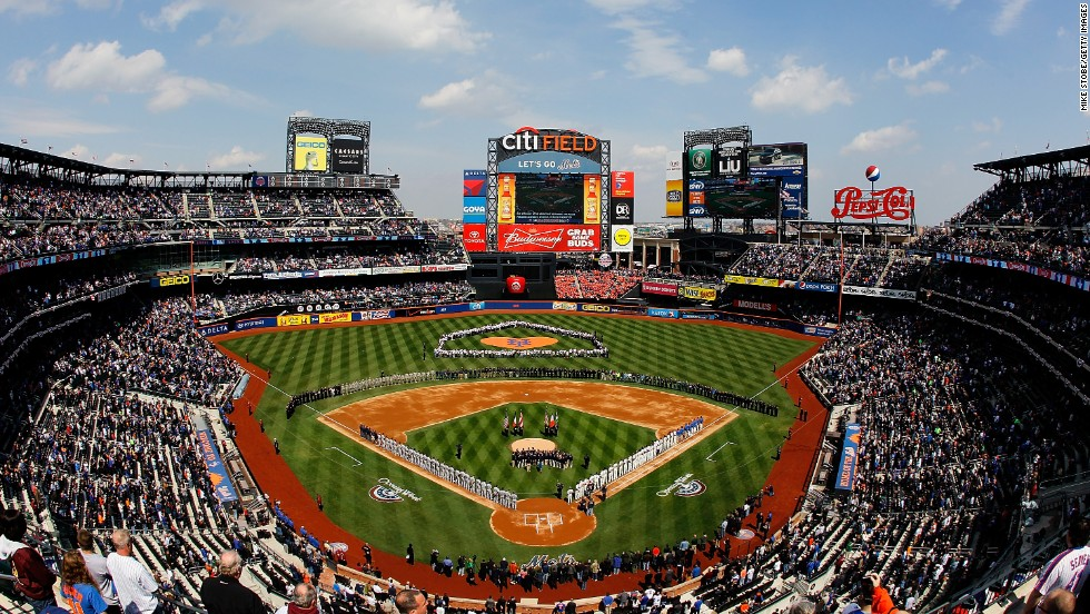 The New York Mets and the San Diego Padres line up for the national anthem on April 1 at Citi Field in New York. The Mets won 11-2.