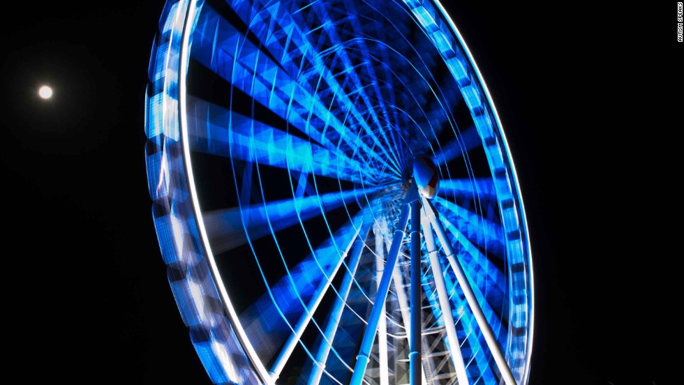 The Wheel of Brisbane in Brisbane, Australia, lights up blue for the 2012 World Autism Awareness Day.