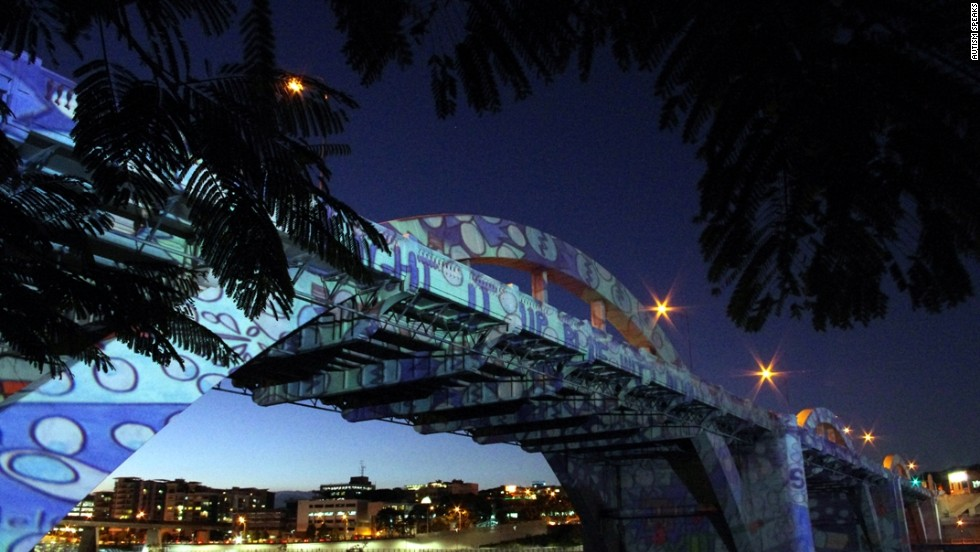 The William Jolly Bridge in Brisbane, Australia, lights up blue for the 2012 World Autism Awareness Day.