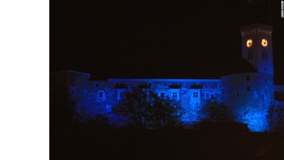 The medieval Ljubljana Castle in Slovenia lights up blue for the 2012 World Autism Awareness Day.