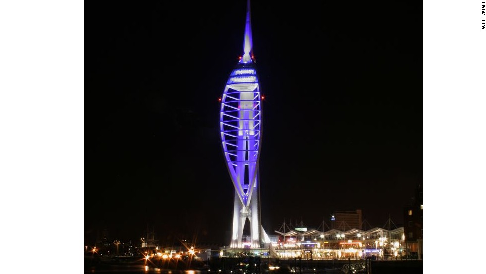 Spinnaker Tower in Portsmouth, England, lights up blue for the 2012 World Autism Awareness Day.