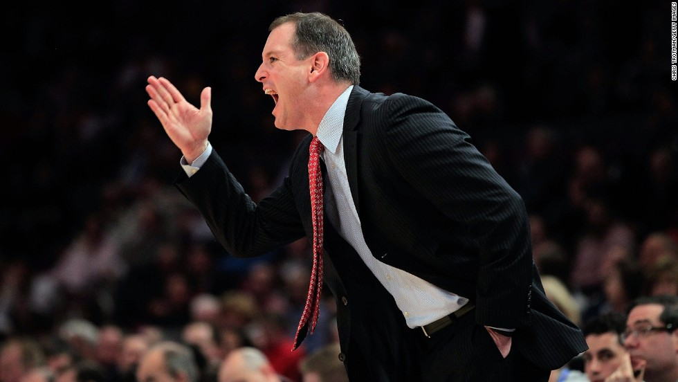 Mike Rice, pictured in 2011, was fired from his head coaching position at Rutgers University after a video surfaced of him verbally abusing his players, shoving them and throwing basketballs at them. Click through the gallery to see which coaches also crossed the line.
