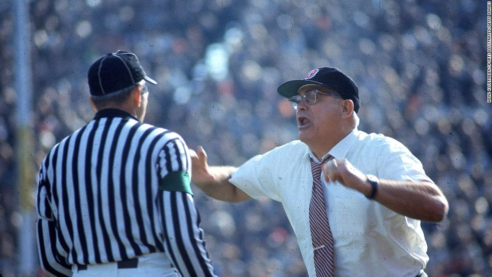 In 1978, Ohio State University head football coach Woody Hayes punched a Clemson University player in the throat immediately after he intercepted an OSU pass. Hayes, here in 1970, was given the chance to resign but refused and was fired.