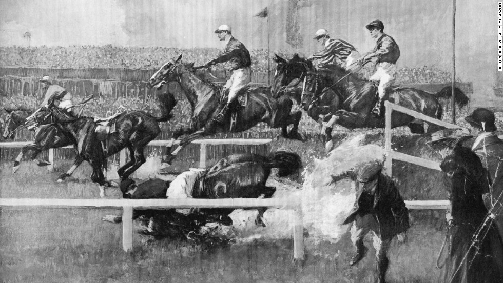 Dramatic falls are nothing new, as this 1909 painting shows. Launched in 1839, the race holds a special place in the public's imagination, and placing a bet has become a unique British tradition.
