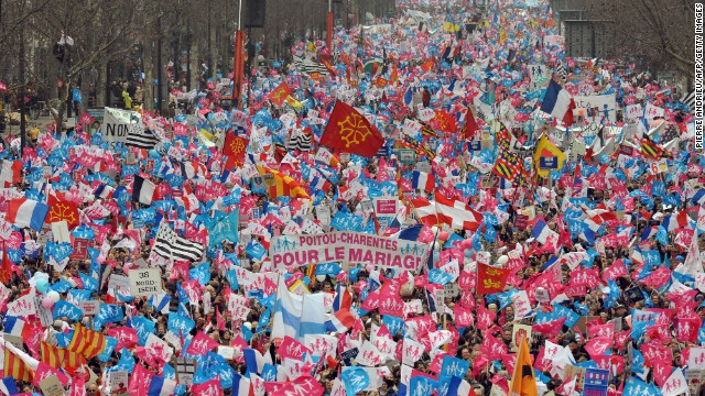 Tens of thousands of people protest against France's same-sex marriage bill on March 24 in Paris.