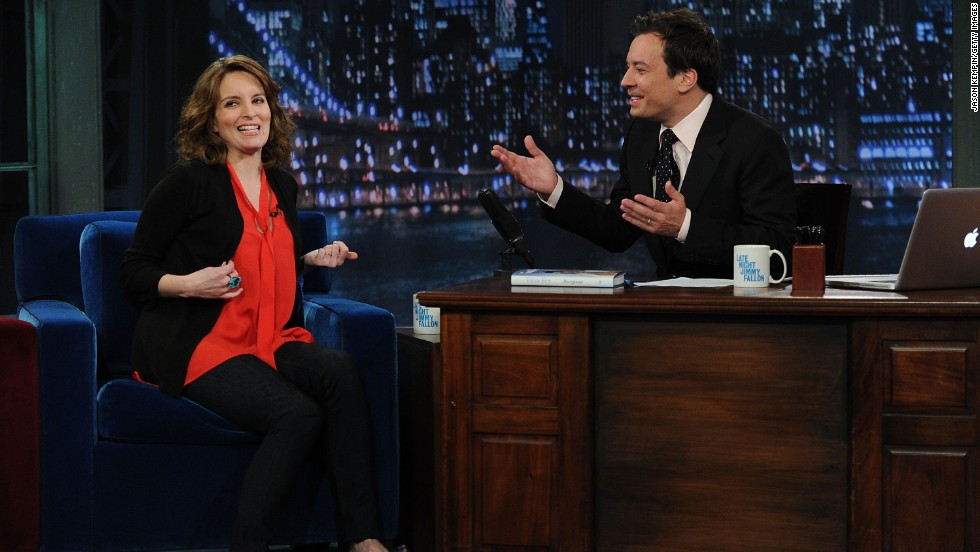 "Tina Fey appears on ""Late Night with Jimmy Fallon"" at Rockefeller Center in May 2011. The two were on ""Saturday Night Live"" together in earlier years."