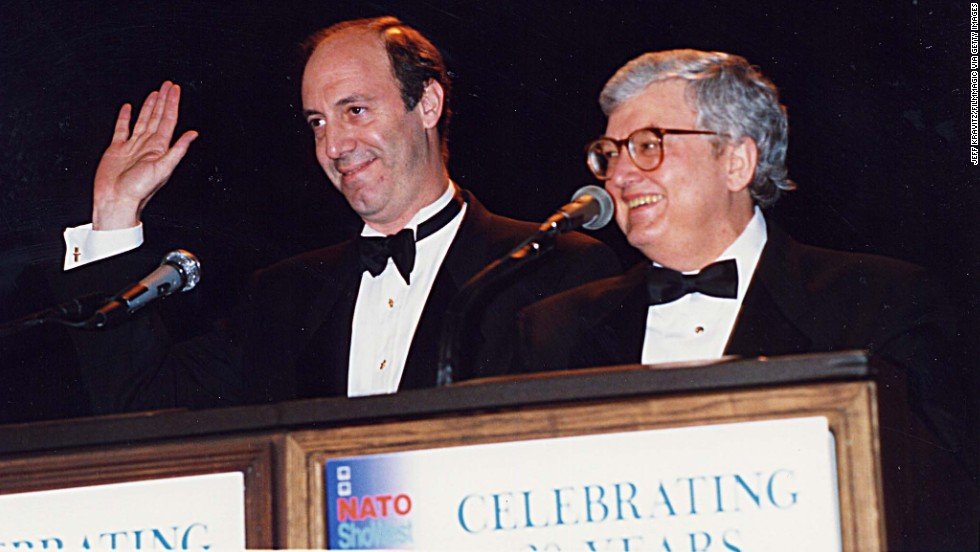 "Siskel, left, and Ebert in 1994. The pair co-hosted the review television show ""Siskel and Ebert At The Movies"" until Siskel's death in 1999 after a battle with a brain tumor."