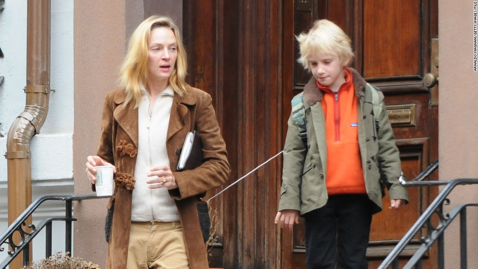 "At 42, Uma Thurman welcomed her first child with Arpad Busson, Rosalind Arusha Arkadina Altalune Florence Thurman-Busson, in 2012. (But you can call her<a href=""http://marquee.blogs.cnn.com/2012/10/18/we-bet-youll-never-guess-the-baby-name-uma-thurman-picked/"" target=""_blank""> Luna </a>for short.) Thurman also has two children with Ethan Hawke. She is pictured here with son Levon Hawke."