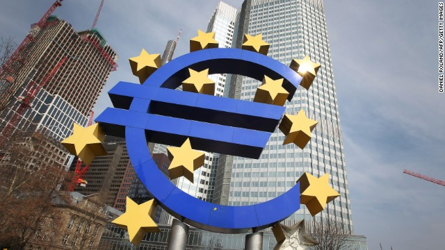 The Euro logo is seen in front of the European Central bank ECB in Frankfurt/Main, Germany, on April 4, 2013.