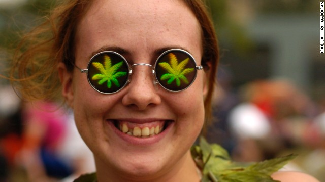 A woman celebrates a drug-policy reform rally in Seattle, Washington.