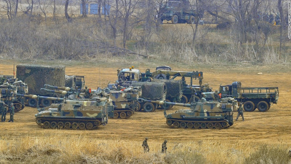 South Korean soldiers with K-55 self-propelled Howitzers stage at a military training field in the border city of Paju on Friday, April 5, as tensions continue to  mount on the Korean peninsula.