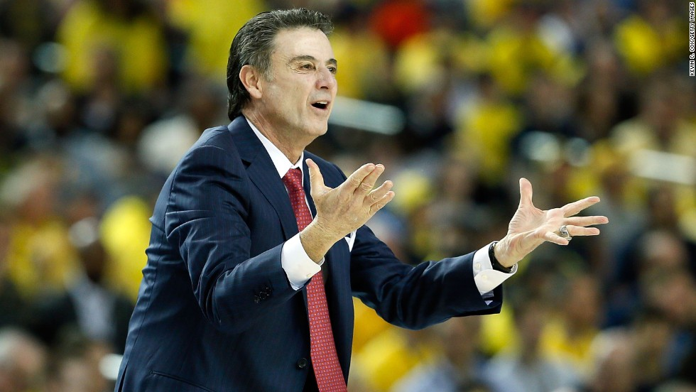 Head coach Rick Pitino of Louisville reacts to a call in the first half.