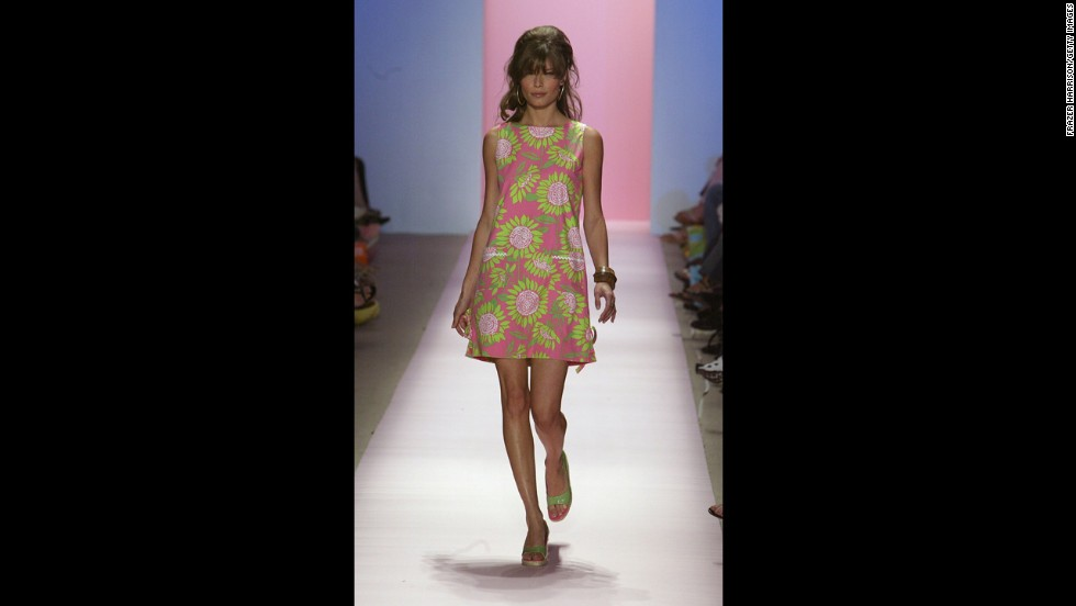 "A model wears an iconic ""Lilly"" dress at the Lilly Pulitzer Couture Spring 2005 fashion show in September 2004 in New York City."