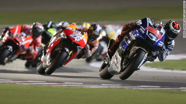 Spanish motorcycling star Jorge Lorenzo out in front during Sunday's Qatar Grand Prix in Doha.
