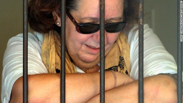 Lindsay June Sandiford pictured in her cell on the Indonesian resort island of Bali on January 22, 2013.