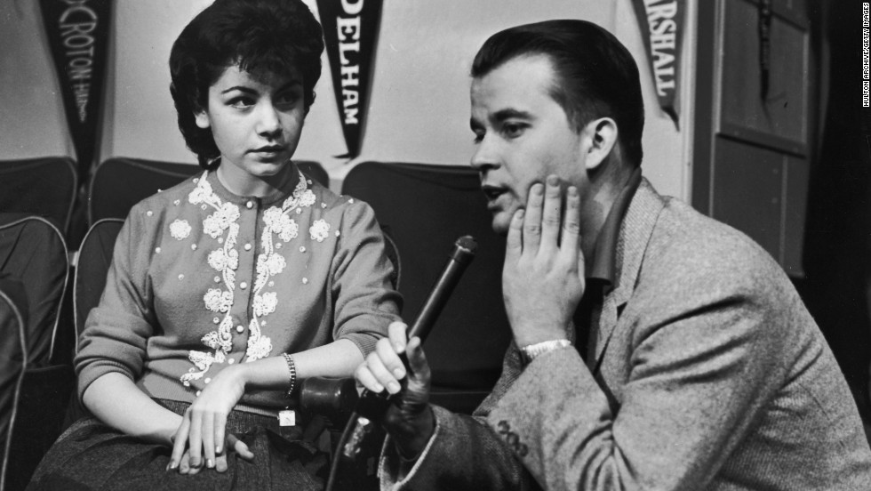 "'""American Bandstand"" host Dick Clark interviews Funicello in the mid-1950s. With a background in dance, she quickly became one of the most popular Mouseketeers.<br />"