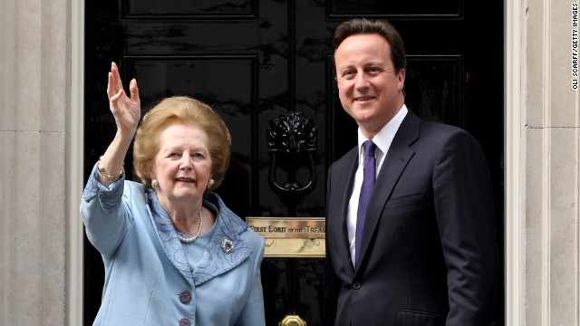 British Prime Minister David Cameron greets former Prime Minister Baroness Thatcher on the steps of Number 10 Downing Street on June 8, 2010 in London, England.