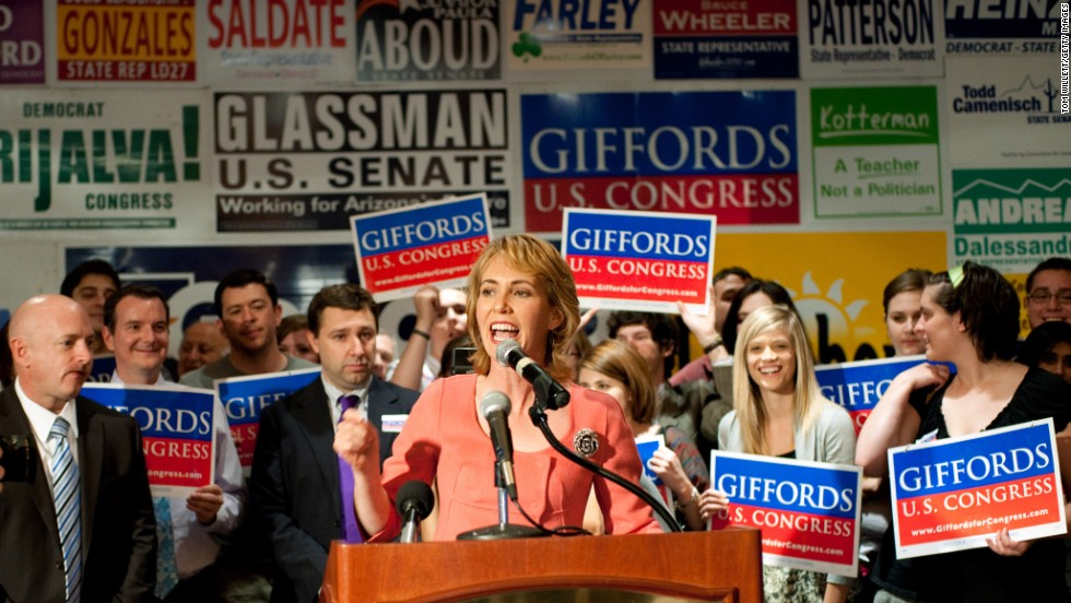 Giffords addresses supporters at the Democratic Election Headquarters in Tuscon, Arizona, on November 2, 2010. She won a close race against Republican Jesse Kelly.