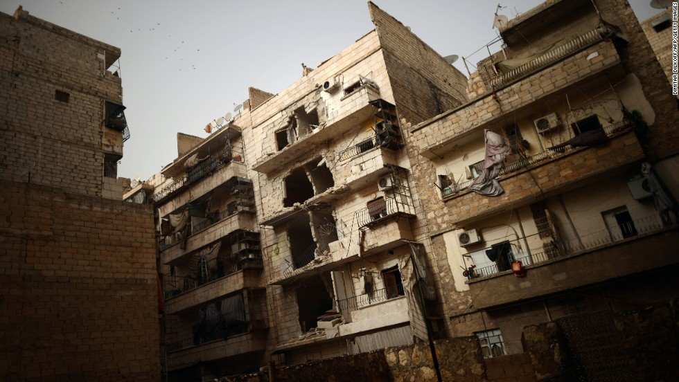 The fighting has taken a toll on buildings in Aleppo's Saladin district, seen here on April 8.