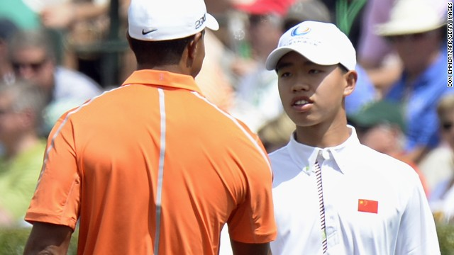 Guan Tianlang (right) will become the youngest player to ever compete in the Masters.