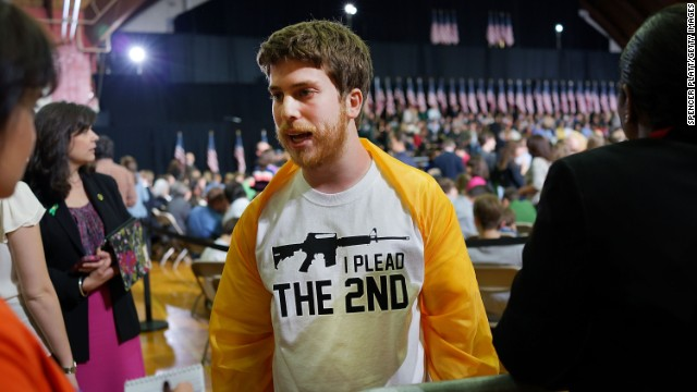 Craig Bentley's T-shirt reveals his point of view at President Obama's speech at the University of Hartford urging gun control.