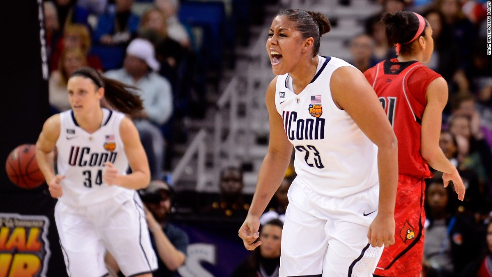 Kaleena Mosqueda-Lewis of the Connecticut Huskies celebrates after a score against the Louisville Cardinals during the championship game in New Orleans on April 9.