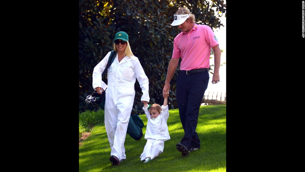 American Brandt Snedeker the course with wife Mandy and daughter Lily.