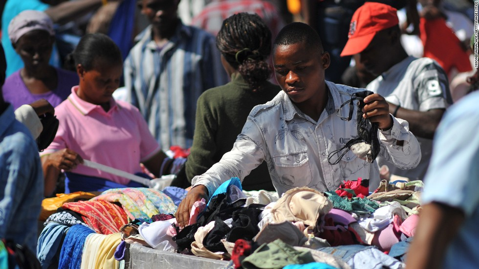 Second-hand clothing is a big business in open-air markets across many African countries.