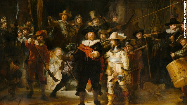 "Rembrandt van Rijn's ""Night Watch"" (1642) from the Rijksmuseum, Amsterdam."
