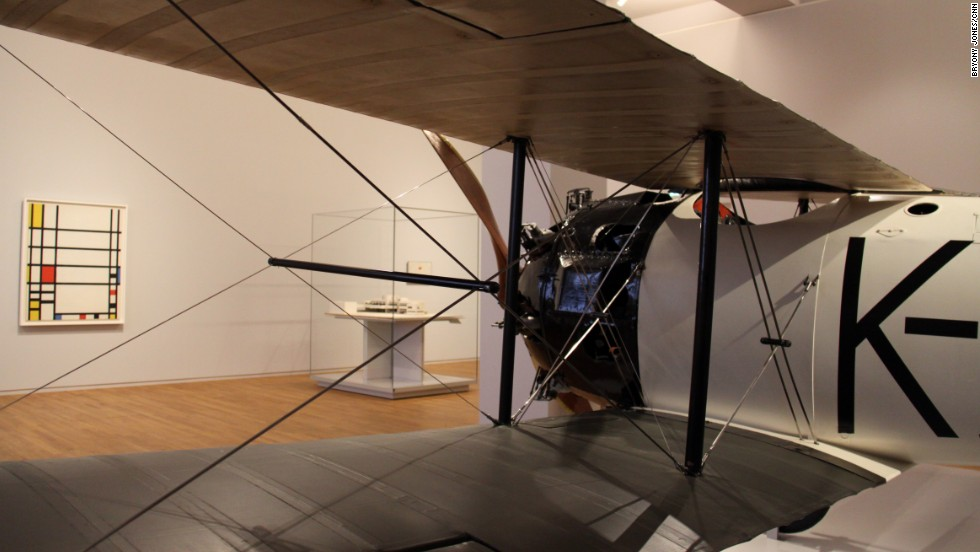 In the 20th Century galleries, Fritz Koolhoven's FK 23 Bantam plane sits alongside a painting by Piet Mondrian, both items considered the height of modernity in their era.