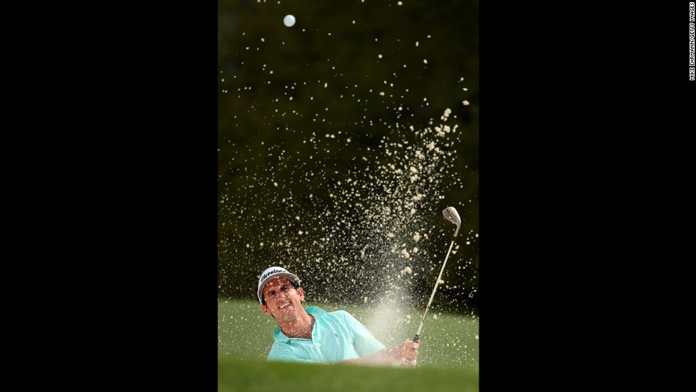 Gonzalo Fernandez-Castano of Spain hits out of a bunker on the 18th hole.