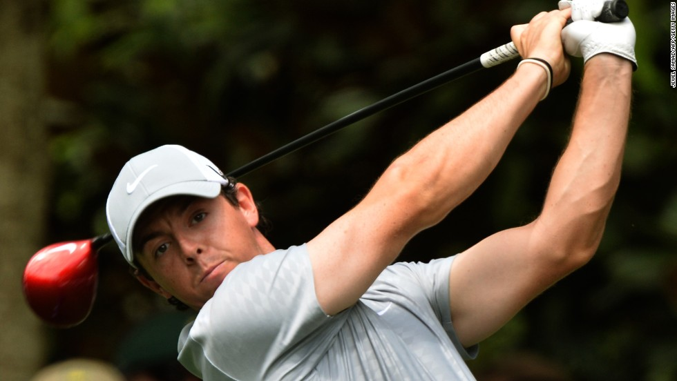 Rory McIlroy of Northern Ireland plays during the second round.