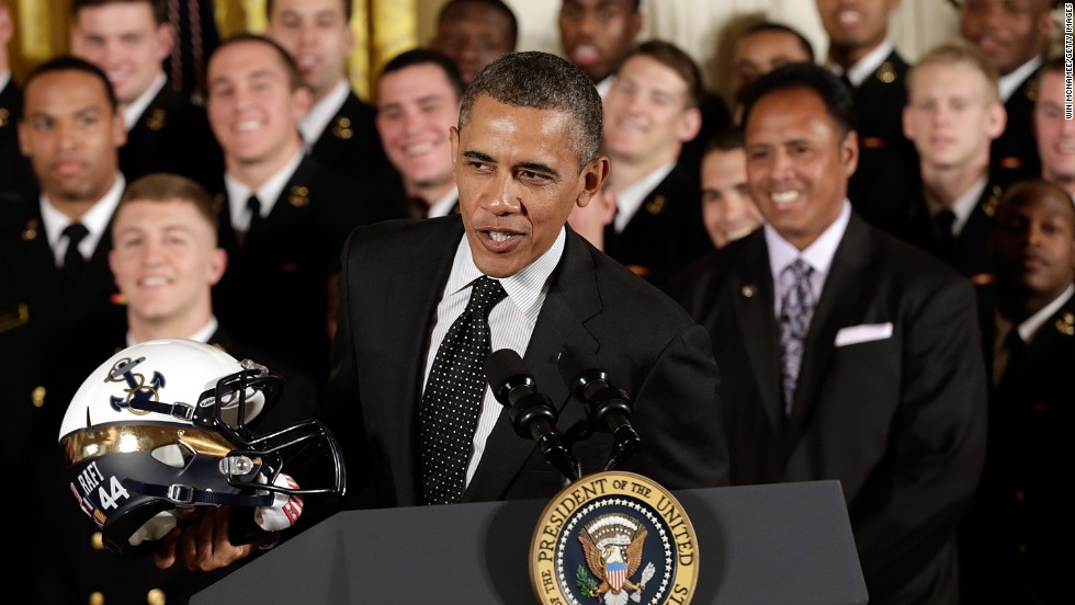 "President Barack Obama opted not to try on the Naval Academy football helmet presented to him during a ceremony at the White House on Friday, April 12. ""Here's the general rule: You don't put stuff on your head when you're president,"" he said to laughter. ""So, that's politics 101. You never look good when you are wearing something on your head."" Take a look back at presidents who have broken the rule."