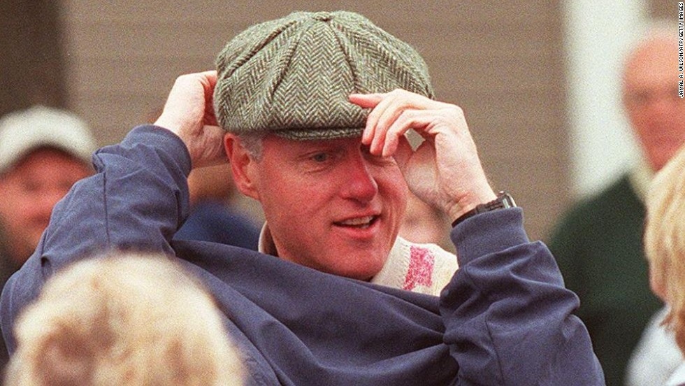 Golf has its traditional headwear, donned by President Bill Clinton at the Penn National Golf Club in Pennsylvania in 1997.