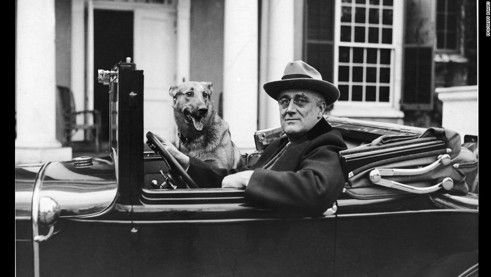 President Franklin D. Roosevelt outside his home in Hyde Park, New York, in 1935.